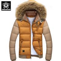 Wholesale Winter Fur Slim Coat Keep - Wholesale- Fur Collar Men Winter Parkas Keep Warm Jacket Patchwork Design Large Size M-4XL Top Quality Fashion Style Man Slim Fit Down Coat