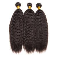 Wholesale Kinky Straight Hair For Weaving - Top Quality Hair 1 Bundles Virgin Brazilian Yaki Straight Kinky Straight Hair Afro Kinky Human Hair Weave 10-30inch For Black Women