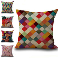Wholesale Diamond Cushion Covers - Colors Geometric Pattern Stripes Diamond Pillow Case Cushion Cover Linen Cotton Throw Pillowcases Sofa Cars Decorative Pillowcover PW550
