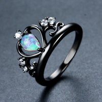 Wholesale Wedding Ring Designs White Gold - Fashion Crown Design White Fire Opal Ring Vintage Black Gold Filled Jewelry Wedding Rings For Men And Women Dropshipping