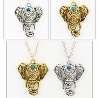 Wholesale Turquoise Silver Elephant Pendant - Necklaces & Pendants For Women Vintage Necklace Silver Turquoise Elephant Charm Pendant Chain Choker Jewelry Chain Pendant necklace