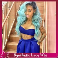 Wholesale cheap blue wigs - front lace wig synthetic ombre black light blue 26inch 150%full hair gluelss lace wig dark roots 3inch cheap wigs for women