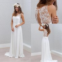 Wholesale Beach Wedding Dresses V Neck Sweep Train Lace Chiffon Sexy Backless Seaside Bohomian Bridal Gowns