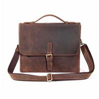 Wholesale vintage leather satchels for men - Vintage Shoulder Bag for Men Top Layer Cow Leather Laptop Bags Hand-made Tote Bag with Long Strap