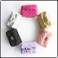 Wholesale Hot Girl Leather Bag - Hot Designer Kid Girl Messenger bag Fashion Rivets Baby Bags Children's Cute Kids Change Purse PU leather crossbody Bag Candy Color KW-BA144
