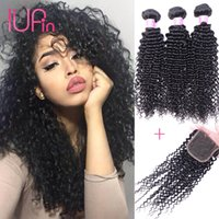 belleza suministro de cabello virgen al por mayor-IUPin Hair Products Indian Human Hair 3 Paquetes con cierre de encaje y Indian Virgin Hair Kinky Curly Weave 4 Paquetes Ofertas Beauty Supply