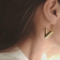 Wholesale Earing Vintage - Vintage Personality Gold Big V Shape Geometric Earrings for Women Exaggerated Dangle Earrings Brinco Earing Eardrops