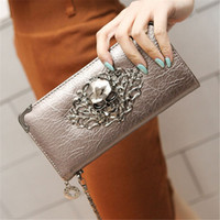 Wholesale Skull Leather Woman Wallets - 2017 Hot Fashion Metal Skull Pattern PU Leather Long Wallets Women Wallets Portable Casual Lady Cash Purse Card Holder Gift