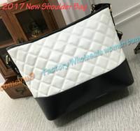 Wholesale Quilted Crossbody Bag - Comeinu9 2017 New Fashion Women's Quilted Calfskin Bucket Shoulder Bag White Black Patchwork Bucket Bag Diamond Lattice Crossbody Bag