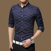 Wholesale Dress Shirts For Mens - Wholesale- Hot selling High Quality Mens Casual Shirt New Spring Cotton Shirts Men 5XL Slim Fit Social Shirts chemise hombre for male Z27