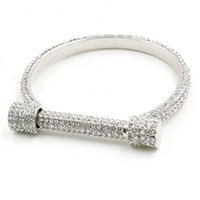 Wholesale Gold Snake Arm Cuff - Wholesale- Luxury Crystal Horseshoe Cuff Bracelets Bangles Women Bijoux Silver Plated Full Rhinestones Arm Cuff Pulseira Feminina