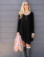 Wholesale Clothes Size 22 - Hot Selling Dresses for Women Clothes Fashion 2017 Long Sleeve Autumn Casual Loose V Neck T-Shirt Plus Size Dress S -XXX L 22