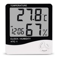Wholesale Digital Room Temperature Clock - Indoor Room LCD Electronic Temperature Humidity Meter Digital Thermometer Hygrometer Weather Station Alarm Clock HTC-1