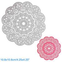 Wholesale Flowers Scrapbook - Round Flower Lace DIY Metal Cutting Dies Stencil Scrapbook Card Album Paper Embossing Crafts