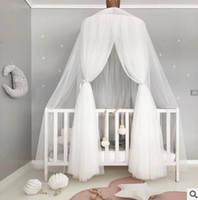 Wholesale Crib Mosquito Canopy - INS Baby mosquito net photography props summer Kids tent cotton gauze hung room decoration bed canopy curtain round crib netting 240cm T0279