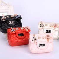 Wholesale Red Rhombus - Fashion Childrens Bags Korean Crown Girls Princess Messenger bag Chain PU Leather Rhombus Mini Handbags Diamond baby One-shoulder Bags A7095