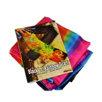 Atacado - King Magic Prop Black Scarf to Colorful Changing Silk Scarf Magic Trick Silk Change Color Magic Tricks Frete grátis