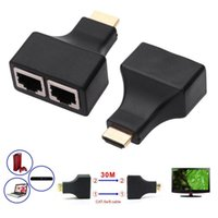 Wholesale Hdmi Network Extender - HDMI to RJ45 Network Extender , 30M HDMI to Dual RJ45 Network Cable Extender, Splitter, Repeater by Cat 5e Cat 6 1080P for HDTV HDPC PS3 STB