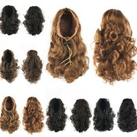 Wholesale fashion hairpieces - Wholesale-Elegant 34cm 90grams Curly Ponytail with Adjustable Stastic Cord Pony Tail Fashion Hair Extension Hairpiece For Women