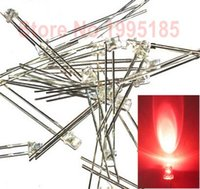 Wholesale led 3mm flat top - Wholesale- 1000pcs   3mm Red Clear Flat-top LED Light Emitting Diode Lamp Clear Lens Flat Top Wide Angle High Brightness Short Leg