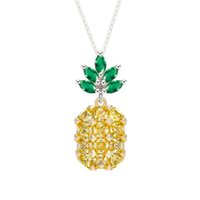 Wholesale Fruit Crystals - Sanbuzhi Brand New Hot Fashion Yellow Cubic Zircon Pineapple Necklaces for Women Jewelry Cute Fruit Style Crystal Pendant Necklace ZN01