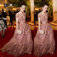 Wholesale Short Fairy Lights - Lily Collins Celebrity Red Carpet Dresses Sheer Neckline Fairy Appliques Short Sleeve Pretty Evening Gowns 2017 Gorgeous Organza Prom Dress
