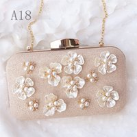 Wholesale Evening Formal Clutch Bags - Gold bling pearl bridal handbags formal wedding dress clutch evening bag crystal designer handbag chain shoulder bag bridal purse