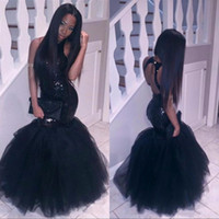 Wholesale Import Photos - Sexy Black Sequined African Prom Dresses 2k17 Long Halter Open Back Imported Party Dress Cheap Custom Special Occasion Evening Wear