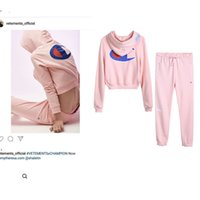 Wholesale High Waist Pants Shorts - 17 the latest tide fleece VETEMENTS joint pink hoodie tide's tops recreational pants suit