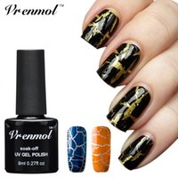 Großhandel-Vrenmol 1pcs Crack Nagel Gel Polnisch Cracking Nail Lack Soak Off 12 Bunte Gel Lack Crackle Shatter Gel Esmalte