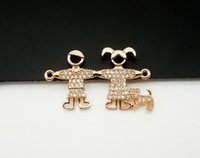 Wholesale Jewelry Findings For Bracelets - Wholesale 5 PCS Diamante Boy Girl Walked the Dog Connectors, Take a walk Rose gold ,DIY Bracelet Connected Accessories For jewelry Finding