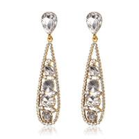 ingrosso orecchini di diamanti di alta qualità-Orecchini Euro-US moda di alta qualità in lega IP oro riempito orecchini nappa Bohemia brillantini strass Diamond Earings