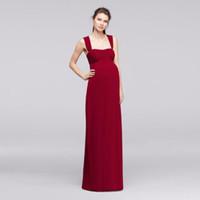 analık akşamı imparatorluk bel elbisesi toptan satış-İmparatorluğu Bel Annelik Gelinlik Giydirme İki Sapanlar ile F19278 Düğün Parti Elbise Akşam Elbise Resmi Elbiseler