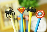 Wholesale Super Black Ink - 12pcs lot Super Man Pens Captain America Heroes Gel Ink Pen Cute Gel Pens Set Ink Gel Erasable Pen