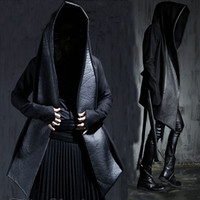Wholesale Hooded Cloak Trench - Wholesale- Men's Fashion Leather Long Hooded Woolen Trench Coats Black Gothic Cloak Overcoat Hot-selling 2016 Winter New