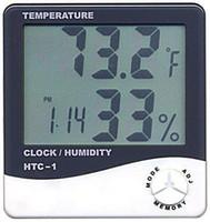 termômetros lcd venda por atacado-Digital LCD Temperatura Higrômetro Relógio Umidade Medidor Termômetro com Relógio Calendário Alarme HTC-1 100 peças para cima