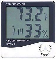 hygromètre de température achat en gros de-Horloge Hygromètre LCD Numérique Horloge Humidimètre Thermomètre avec Horloge Calendrier Alarme HTC-1 100 pièces