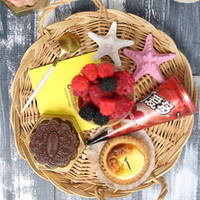 Wholesale Wholesale Baskets For Clothing - Handmade circular Wicker Storage Basket wickerwork Plate Fruits Storage Box For food picnic basket Handiwork Fashion kitchen accessories