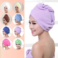 Wholesale hair drying turban towels - Shower Caps Women Microfiber Magic Shower Caps Hair Dry Drying Turban Wrap Towel Hat Cap Quick Dry Dryer Bath 60*25cm WX-T17
