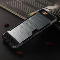 ranura tarjeta de plástico al por mayor-El mejor precio Caja de plástico duro duro TPU Suave TPU Doble cubierta a prueba de golpes Ranura para tarjeta Funda Para iphone 7 7plus 6 6plus