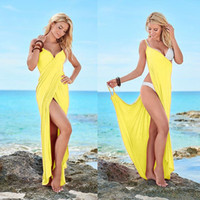 Wholesale sexy holiday clothes - Sexy summer women seaside long spaghetti strap dresses holiday beach clothing for lady accept retail and