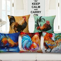 Wholesale Cock Case - 10 Styles Animal Roosters Cushion Covers Color Oil Paintings Rooster Cock Cushion Cover Decorative Linen Cotton Pillow Case For Sofa Couch