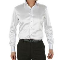 camisas brancas da seda dos homens venda por atacado-Mens cetim camisas de vestido branco preto falso homens de seda camisas de manga longa queda