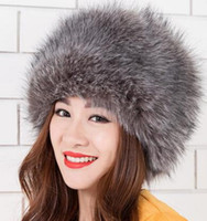 Wholesale red fox hats resale online - Brand New winter hat with fur fox fur ear protection cover women hat and copious liner warm knit hat fur selling High quality
