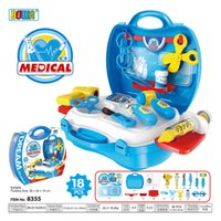 Wholesale Toy Kitchen Utensils Wholesale - Children's Pretend Play And Dress-up Toys Suitcase Suit Simulation Cooking Utensils of Kitchen Doctor Dresser Cashier Tools Free DHL SF