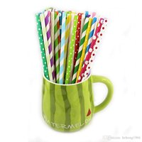 Wholesale Retro Paper Drinking - Retro Paper Straw Stripe Dot Heart Shape Tubularis Multi Color Drink Beverage Water Juice Straws For Party 0 06xs R