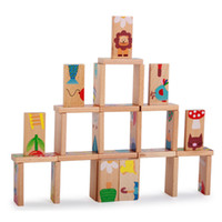 Patrón animal de dibujos animados rompecabezas de madera Domino juguetes 28pcs / Set niños estándar Domino Niños Early Education Intelligence Development