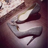 Wholesale Glamorous Days - Hot Fashion Celebrity Style High Heel Pumps Stiletto Shining Glitter Rhinestone Glamorous Wedding Shoes Pumps For Brides Bridesmaids Ladies
