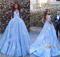 buz mavisi denizaltı elbisesi toptan satış-Sırf Buz Mavi Dantel Örgün Gelinlik Modelleri Uzun 2019 Ile Seksi Backless Arapça Elbise Akşam Aşınma Kolsuz Mermaid Pageant Törenlerinde Artı Boyutu