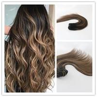 beste remy menschenhaar großhandel-Balayage Farbe T1B / 6 Best Selling reines Haar gerade Menschenhaar Clip in Haarverlängerung 100G pro Bundle